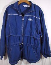 Vintage Reebok Windbreaker Jacket LARGE Blue Full Zip Mesh on Back