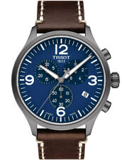 Tissot Chrono XL Brown Leather Strap Blue Dial Quartz Watch T1166173604700 45mm
