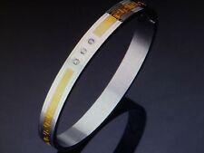 NEW Womens Stainless Steel Bracelet Bangle jewlrey Greek Key Two Tone Rhinestone
