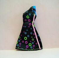 New MATTEL GENUINE MONSTER HIGH GIRL DOLL BLACK WITH CIRCLES GOTH DRESS CLOTHES