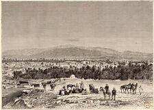 TUNISIE TUNISIA OASIS DE GAFSA CHEVAL DROMADAIRE IMAGE 1887 OLD PRINT