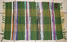 BNWT Gringo Green Cotton Fair Trade Rag Rug 90x60cm Hippy Boho Ethnic India