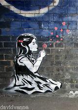 Banksy Graffiti Dandelion Hearts 16x20 double thick matte paper print