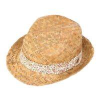 NEW WOMENS LADIES GIRLS STRAW TRILBY FEDORA SUN HAT BEACH SUMMER FESTIVAL