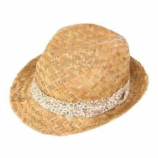 NEW WOMENS LADIES GIRLS STRAW TRILBY FEDORA SUN HAT BEACH SUMMER FESTIVAL