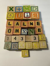 LOT OF 30 ASSORTED WOODEN CHILDREN'S BLOCKS TOYS IOWA LETTERS ANIMALS NUMBERS