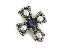 Diamante Cross Brooch Pin with Faux Pearl and Blue crystal 4 cms