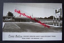LINE MARKING SERVICE Muskegon Ad postcard, PLUMB'S Whitehall, Michigan, RPPC