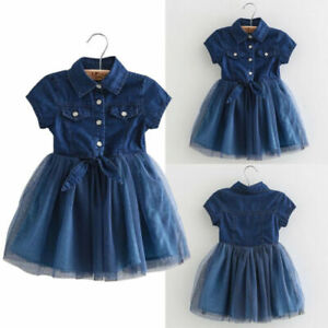 Kids Girls Toddler Denim Dress Short Sleeve Party Princess Mesh Tutu FashioSkirt