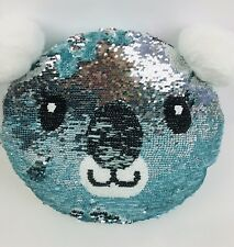 NWT JUSTICE Girls Panda Flip Sequin Blue Silver Pillow Adorable!!! 🐼🐼 Sold Out