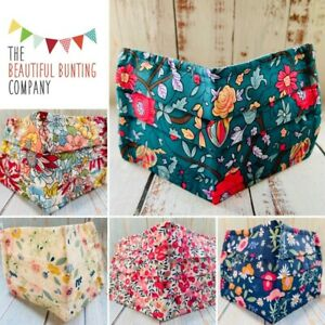 Cotton Fabric Face Mask Washable Pretty Floral 3 Layer Adjustable Ear Straps