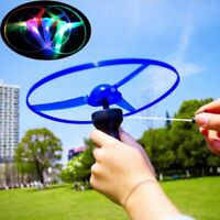 LED Flashing Plastic Pull String Flying Saucer Propeller Toy Disc Helicopter