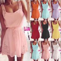 Hot Women Summer Chiffon Boho Evening Cocktail Party Mini Dress Beach Sundress