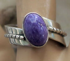 VINTAGE CAROL FELLEY STERLING RING with CHAORITE - SIZE 8.75 - 1991
