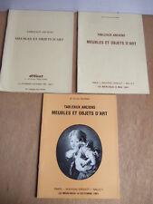 3 CATALOGUES ENCHERES 1980 1981 DELORME TABLEAUX ANCIENS MEUBLES OBJETS D'ART