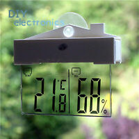 Transparent LCD Thermometer Hydrometer Indoor Outdoor Weather Station US