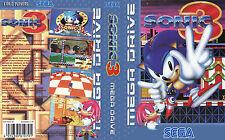 Sonic 1 2 3 3D UK PAL US Sega Megadrive Replacement Art Insert Case For Box