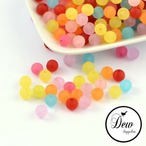 Transparent Frosted Acrylic Ball Round Bead Mixed Color,8mm, 50pcs DIY Jewellery