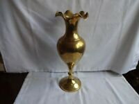 "Vintage Engraved Brass Vase Height 8"""