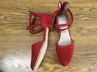 EILEEN FISHER LYTON D'ORSAY ANKLE STRAP HEEL SUEDE SHOES NWOB SIZE 6