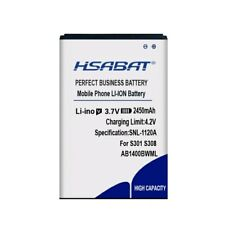 HSABAT 2450mAh AB1400BWML Battery for PHILIPS S301 S308 CTS308 Battery Batteries