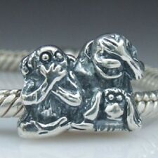 Genuine Solid 925 Sterling Silver 3 Wise Monkeys Charm Bead