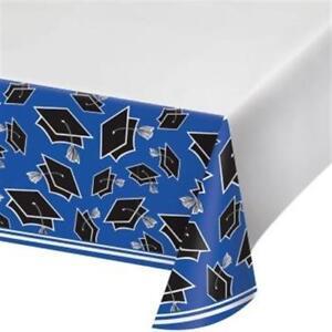 "Graduation School Spirit Cobalt Blue Plastic Tablecloth 54"" x 102"" Tableware"