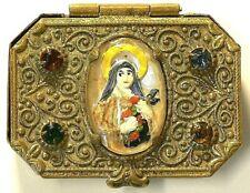Antique Brass Snuff Box Virgin Mary #6752
