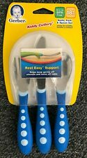 2 sets NUK Gerber Kiddy Cutlery; Blue & Pink - Ages 18m+ NEW (knife fork spoon)
