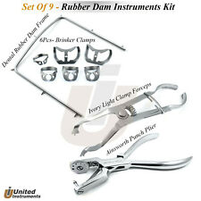 Universal Rubber Dam Kit Of 8 Pieces Frame Punch Clamps Dental Ainsworth Plier