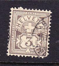 Estampilla Suiza -1882 3c marrón pálido-wmk 8-Usada