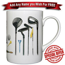 Golf - Fine Bone China Mug + Personalised with any name added for free