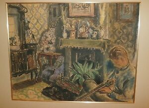 Young Man with Shotgun in Living Room,Fireplace Pastel-1920s-Bernard Gussow