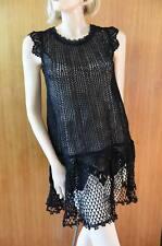 LIM'S VINTAGE 100% COTTON HAND CROCHET DRESS SLIGHTLY A-LINE FLAIR BOTTOMS BLACK