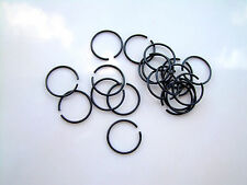 1 Ear Septum Nose Lip Ring Fake 20g Look No Piercing Needed Glossy Black Plated