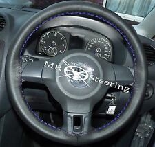 FITS VW POLO MK5 6R 2009+ BLACK LUXURY LEATHER STEERING WHEEL COVER BLUE STITCH