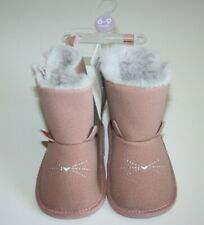 Carter's Child of Mine Girl Baby Faux Suede Pink Crib Boots Booties Cat New