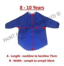 Childrens Kids Waterproof Apron Smock Painting Art Craft - Blue - Choose Size