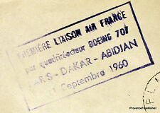 1960 BOEING 707 PARIS DAKAR  ABIDJAN    Airmail Aviation premier vol AC07