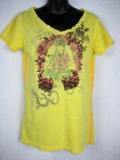 Lucky Brand Embroidered T-Shirt Medium Yellow Multi V-Neck Budda Graphic Print