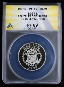1997 Belize Proof Silver Dollar Queen Mother ANACS PF69 DCAM Balmoral Castle