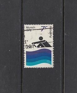 """1972 Olympics, 7¢ Athletics """"RETOUCH IN RIGHT OF AQUA BAND"""" BW 591g, rare used"""
