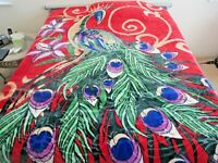 NEW! KING KOREAN style MINK heavy weight blanket PEACOCK bird red NEW 11 lbs