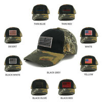 US American Flag Patch Mossy Oak Realtree Camo Adjustable Cap - BLACK