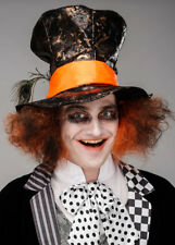 Mens Gothic Dark Mad Hatter Hat with Hair