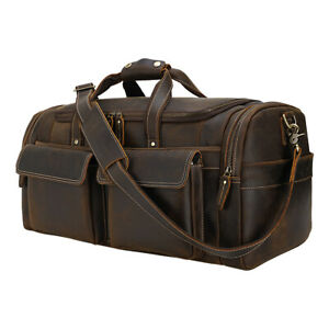 """22"""" Real Leather Overnight Luggage Travel Bag Suitacase Duffle Gym Shoulder Bag"""