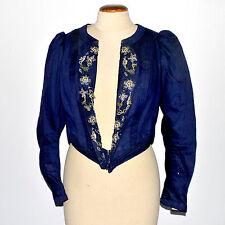 Corsage Veste ancien _ Coton bleu roi et broderies fleurs _ Taille de guêpe 1900