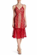 ROMEO & JULIET COUTURE Red V-Neck Spaghetti Strap Lace Dress Size M NWT $218