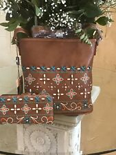 AMERICAN BLING Embroided And Studded Cross Body Purse and Wallet Set Brown