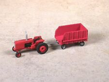 N Scale 1980 Red international Tractor with Red Feed Lot Wagon.